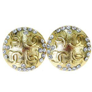 CHANEL CC Rhinestone Earrings Clip-On Gold-Tone Ac